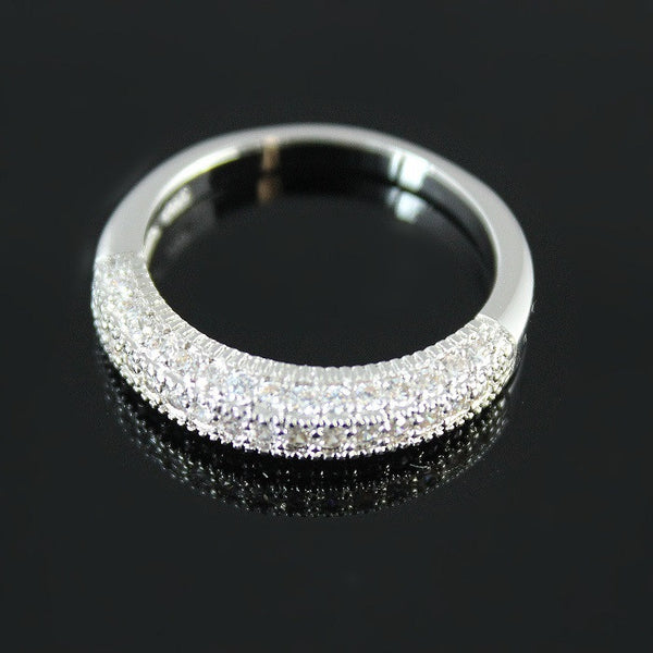 925 Silver CZ Ring for Women Wedding Girls Valentine's Day Gift Fashion