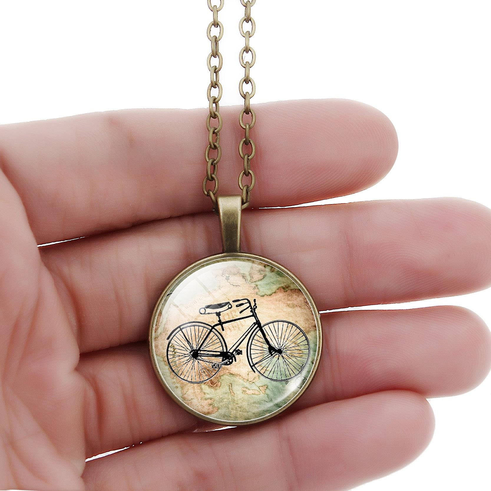 Glass dome Necklace Vintage Bicycle & Map pendant, cyclist gift, Necklace in jewelry antique bicycle biker for Woman Jewelry