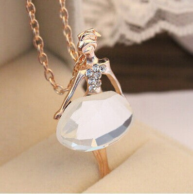 Fashion 2017 Trendy Cute Jewelry Female Full Drill Ballerina Crystal Pendant Necklace Long Sweater Chain Necklaces