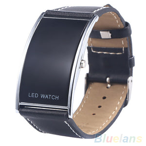 LED Digital Date Faux Leather Strap Wrist Watch