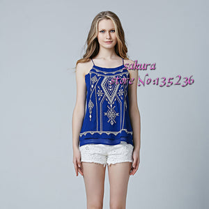 2016 4 Colors women's terrace Printed & Embroidered t shirt tank top sleeveless backless sexy tee tops t-shirt women camis - Gifts Leads