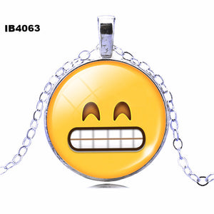 2016 Classic Emoticons Picture Statement Chain Necklace Fashion Silver Color Glass Cabochon Collars for Women Fine Jewelry - Gifts Leads