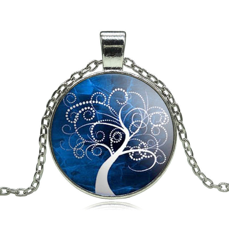 Vintage Life tree pendant necklace glass cabochon silver statement chain Necklace Jewelry for Women