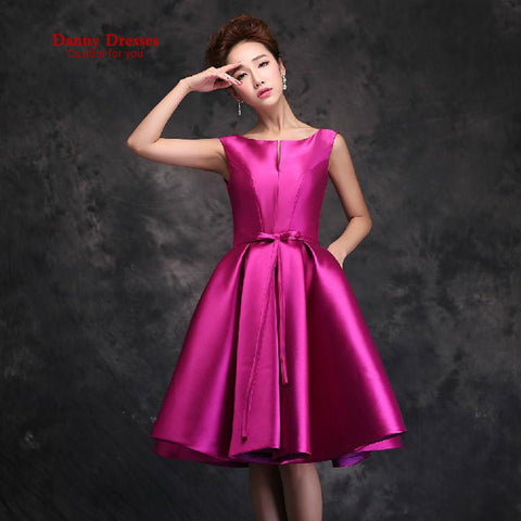 2016 New fashion red vestido de noiva short design red satin drill bridal party dresses prom dress