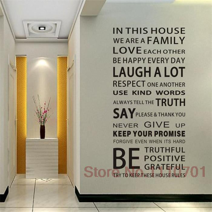 Free Shipping 60150cm Family House Rules Vinyl Wall Decals Stickers