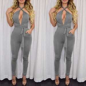 Women New Fashion Rompers And Jumpsuits Women Sexy Backless Sleeveless Playsuit Bodysuits Elegant Bandage Jumpsuits