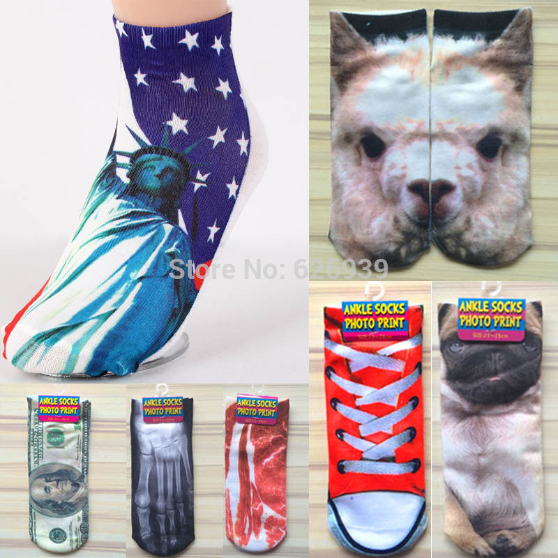 2016 New 3D Print Women Mens Weed Socks Harajuku