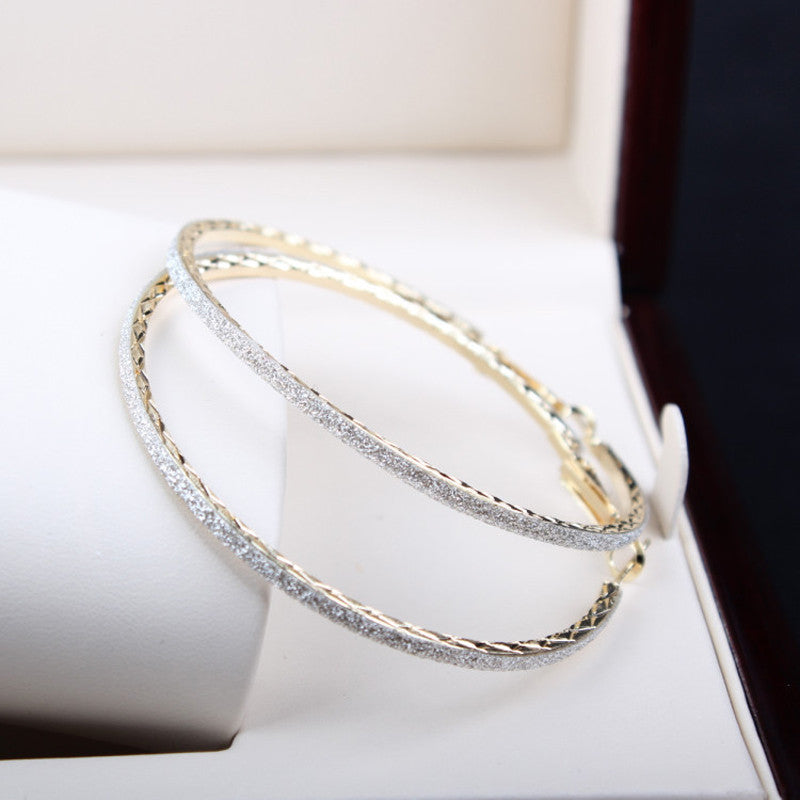 Sale Fashion Big Round Hoop Earrings Elegant Simple Pierced Silvery/Golden 2 Colors For Evening Party
