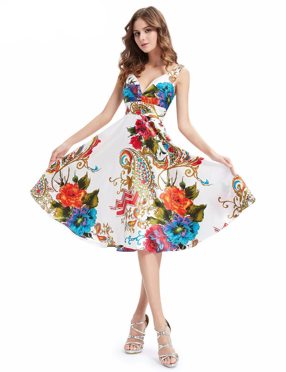 Free shipping Double V-neck Empire Line Floral Printed Satin Cocktail Dress