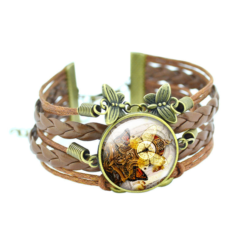 Classic Butterfly Bangles Bracelets Fashion Glass Cabochon Bracelet for Women Newest Bronze Leather Bracelet