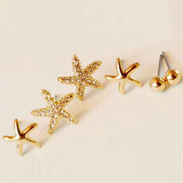3Pairs/bag Starfish Shaped Earrings For Women Stud Earring Brincos Earing Earings Jewelry
