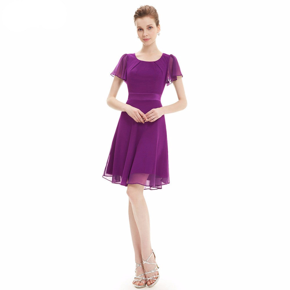 Free Shipping 2016 New Arrival Purple Round Neck Chiffon Short Elegant Summer Party Dress