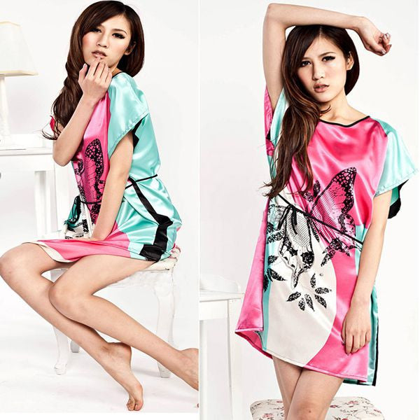 Butterfly Pattern Sleepwear Gown Dress Pajamas