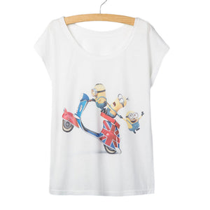 2016 Summer Short Sleeve Women T-Shirt electric car cartoon print T Shirt Women tee Shirts Clothes Femininas tops