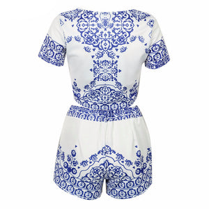 Women Retro Vintage Tile Prints Blue White Porcelain Pattern Short Sleeve Crop Top And Shorts Set Summer 2016 New