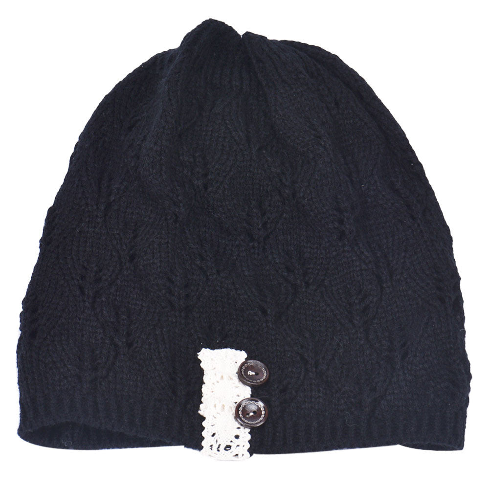 Fashion women Knitting Hat casual Hollow Out Leaves