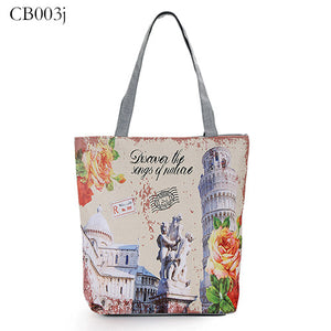 New Arrival Women Printing Handbags Fashion London Tower Simple Style Vintage Zipper Bags For Shopping Women Shoulder Bags