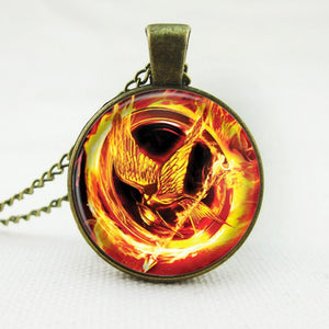 2016 laugh birds vintage women jewelry hot movie Hunger Games pendant necklace Mockingjay glass cabochon statement necklace