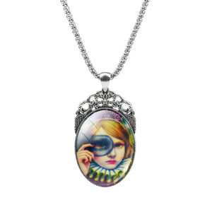 Summer Style Jewelry Vintage Antique Bronze Oval Cartoon Girl Alloy Pendant Necklace Glass Cabochon Statement Necklace for Women
