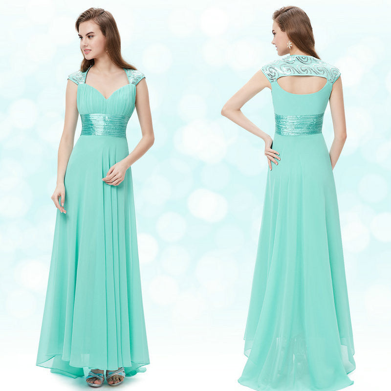 V Neck Royal Blue Sequins Chiffon Ruffles Empire Line Long Evening Dress 2016 New Arrival