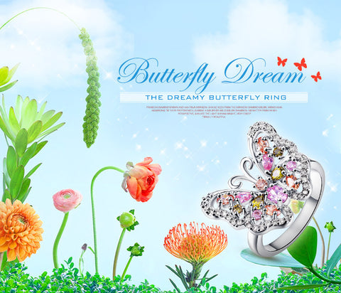 Butterfly  Cocktail Party Rings for Women Lady Morganite Peridot Pink