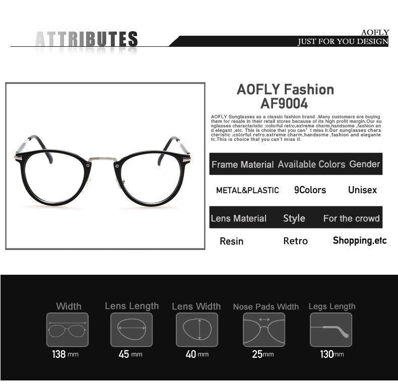 d75ae3f8d2 AOFLY New Style Men and women Fashion Vintage Eyeglasses – Gifts Leads