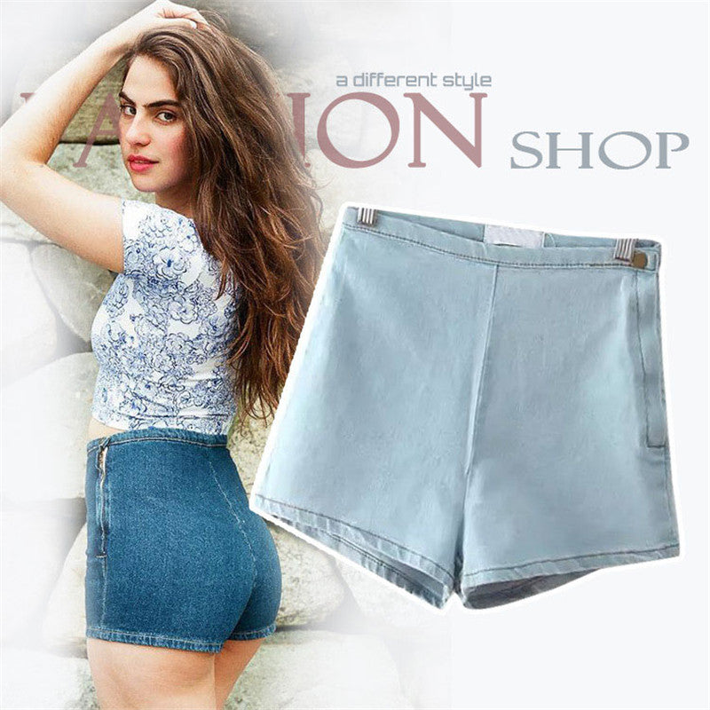 High Waisted Denim Shorts for Women Candy Color Short Jeans