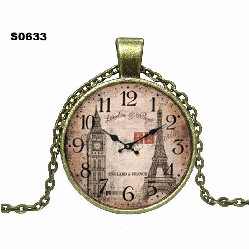 2016 Fashion Clock Pendant Necklace glass cabochon Vintage Bronze Accessories statement chain Necklace Women Jewelry Necklaces - Gifts Leads