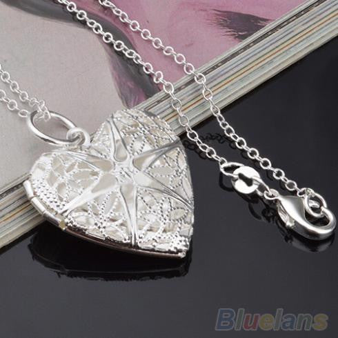 Women's Fashion Silver Plated Hollow Out Heart Photo Locket Pendant Necklace