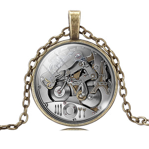 Vintage Grey steampunk Charms Gear Necklaces & Pendants Antique bronze Necklace in Jewelry