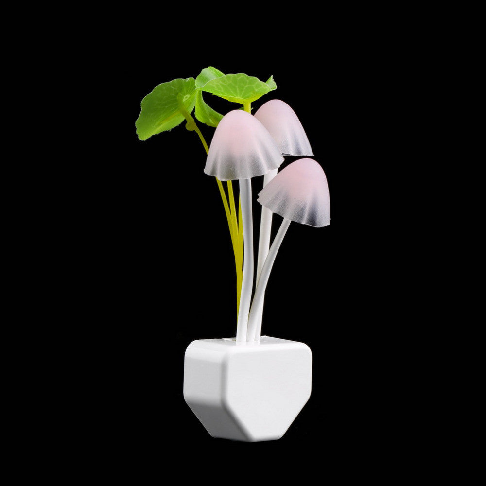 LED 7 Color Light Sensor Mushroom Night Light Lamp Gift Home Lighting , 220V 3 LEDs Lamp(US Plug)