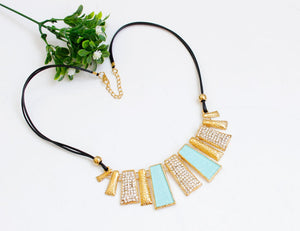 Design Beads Enamel Bib Leather Braided Rope Chain Necklace