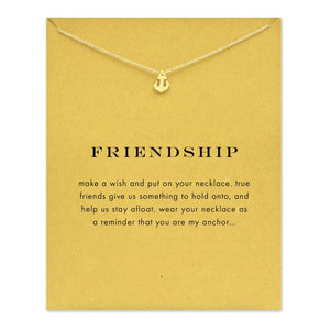 Dogeared Sparkling Anchor gold Pendant necklace short  Anchor golden Clavicle chain 18k Statement Necklace For Women Jewelry