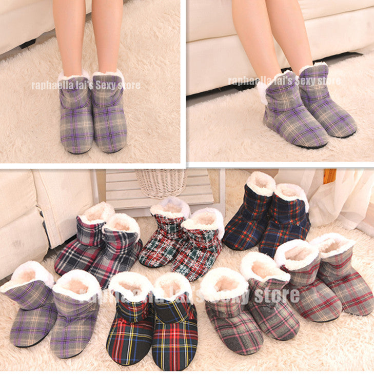 Female Square Grid at Home Indoor Slippers Soft Outsole Indoor