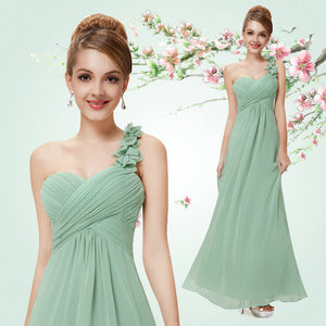 Flowers One Shoulder Chiffon Padded Evening Dress