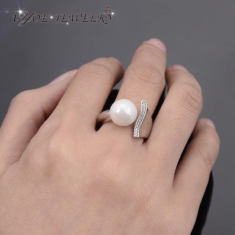 New Brand Platinum Plated Elegant Pearl Ring Luxury  Austria Crystal Wedding Rings