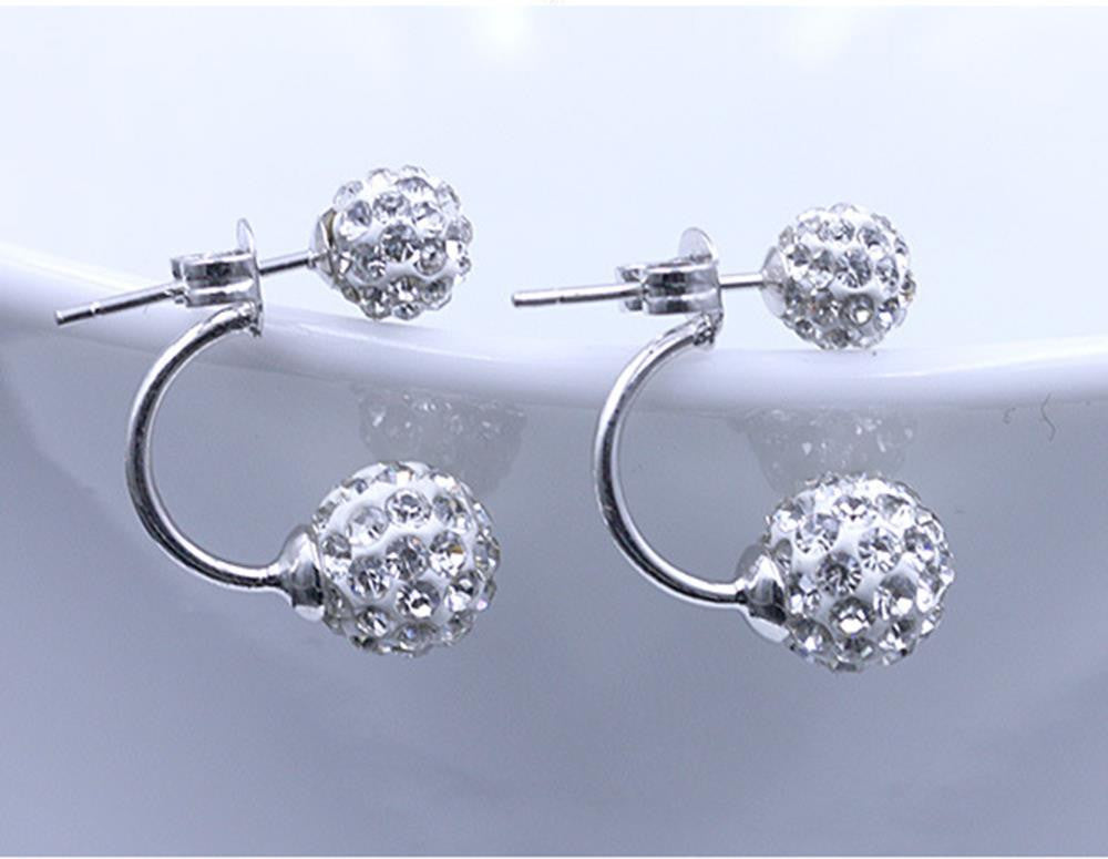 Fashion Jewelry Shamballa Earrings 925 Silver Crystal Disco Ball Shamballa Stud Earrings