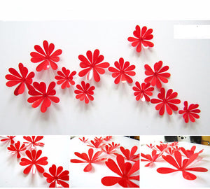 12 pcs/set 3D Mirror Effect Wall Sticker Flower Art Home Decor Removable room Decals Wall Quote Art Sticker Home Mirror flower - Gifts Leads