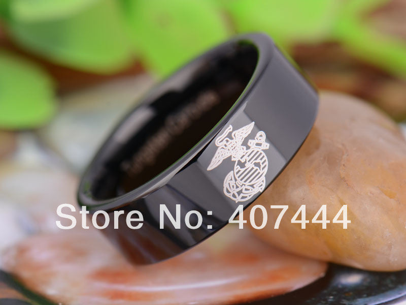 8MM Black Pipe Army Military Marines Ring Mens Tungsten Wedding Ring