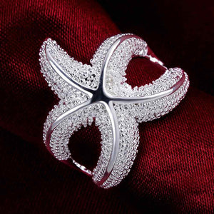 Silver rings Fashion Jewelry sea star hurge fashion men wedding ring for women