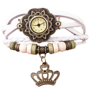 New Leather Weave Around Crown Bracelet Watch Women