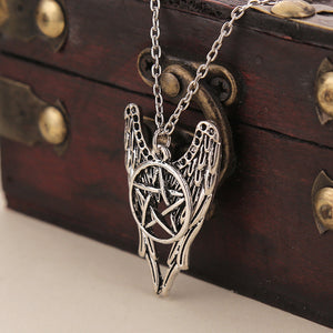 Supernatural Necklace Pentagram Castiel Wings Angel Wicca  Dean Winchester Jensen Ackles amulet pendant necklace