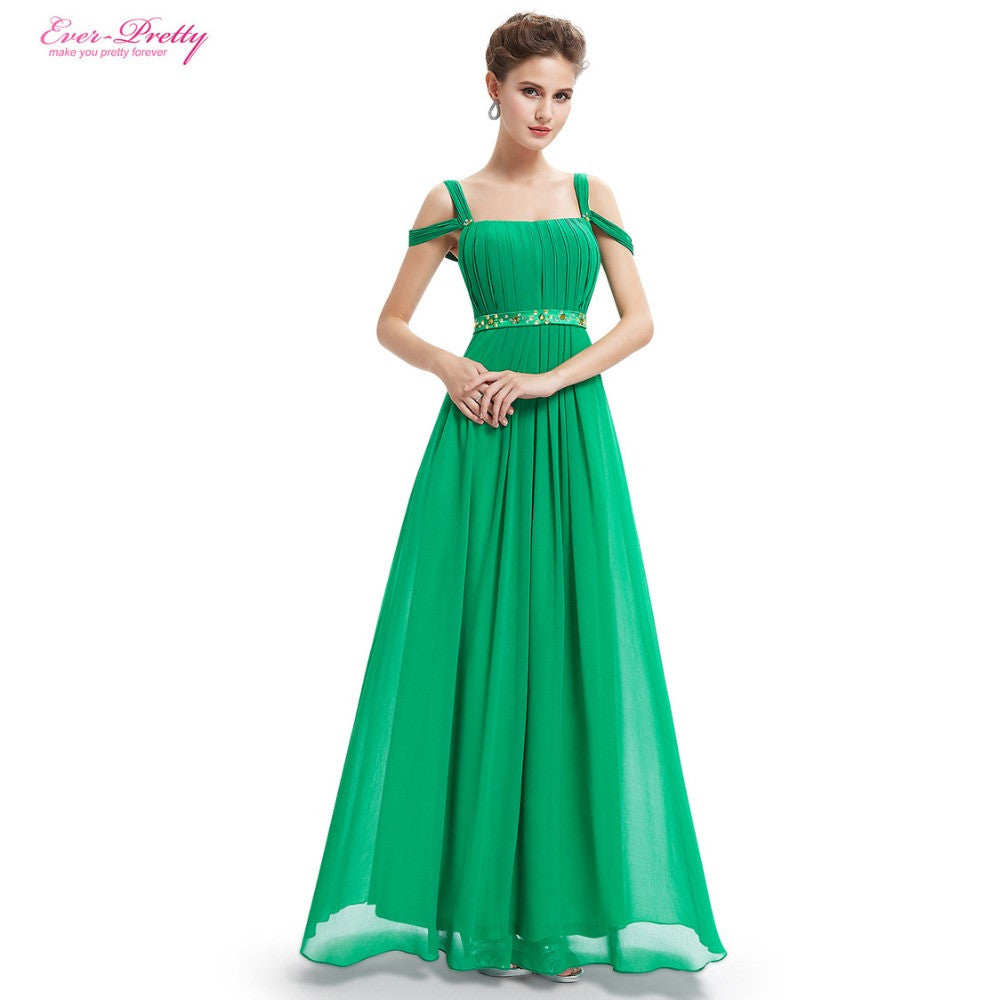 Sexy Straps Green Chiffon Ruffled Maxi Evening Dresses