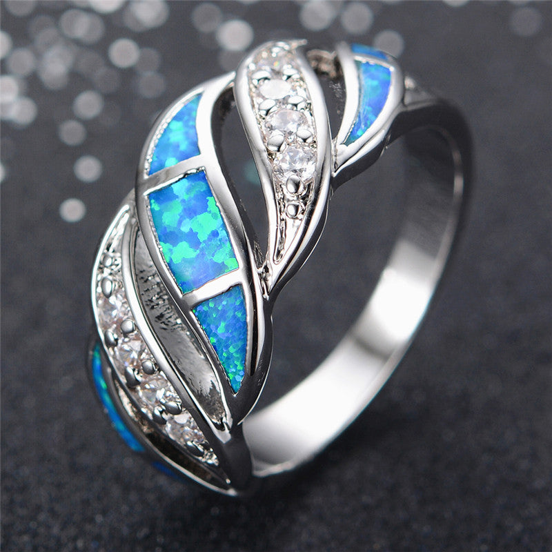 Blue Sapphire jewelry Crystal Opal Ring 14KT White Gold filled