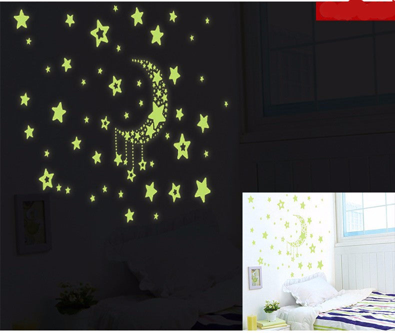 Romantic Night luminous Stars Fluorescent 3D Wall Stickers ...