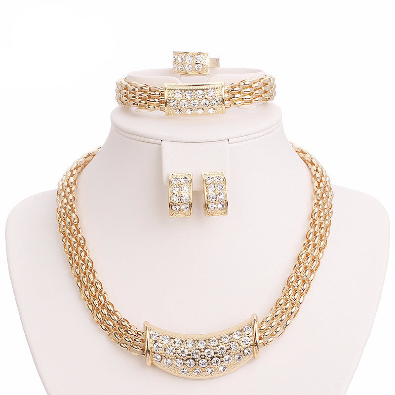 African Beads Jewelry Sets Fine Wedding Gold Crystal Necklace Set Party Women Fashion Bridal Ring Bracelet Earrings Accessories