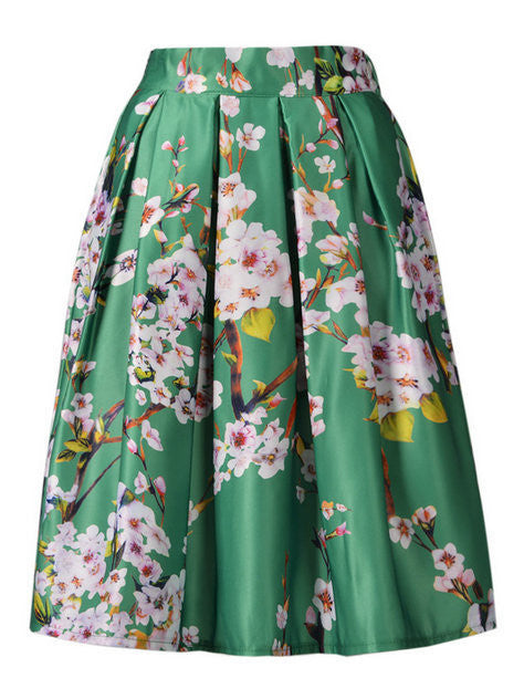 2016 Autumn Latest New Women Tiger Pattern/Leopard/Colorful Sakura Floral Frint High Waist Pleated Midi Long Skirts Plus Size - Gifts Leads