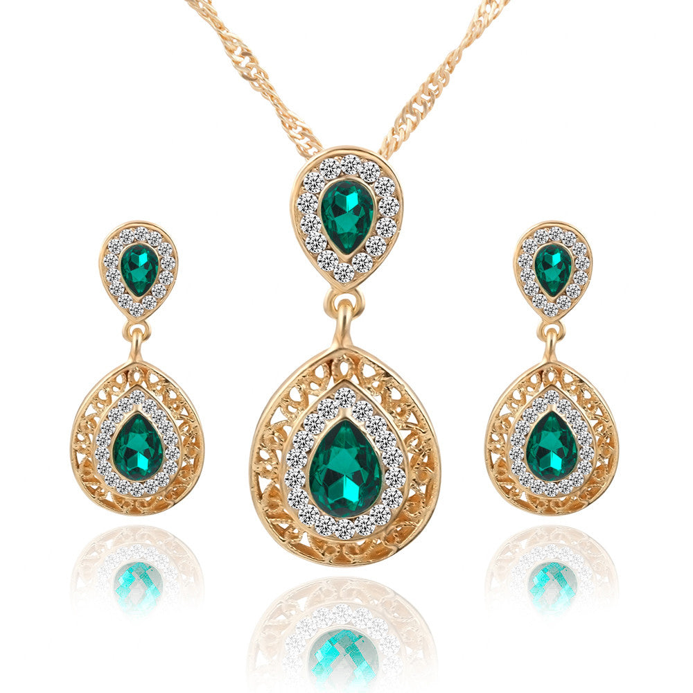 Brand Design Jewelry Sets Double Water Drop Crystal Earrings Necklaces Set For Women Fine Jewelry collares mujer brincos