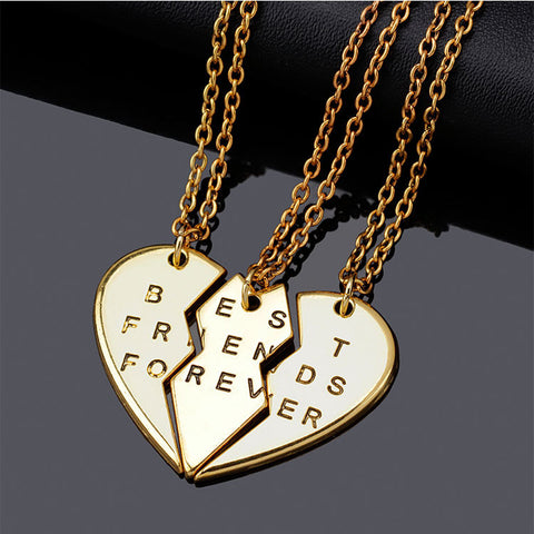 New collier choker necklace heart pendant pieces broken three best friend forever necklace women necklace jewelry collares mujer