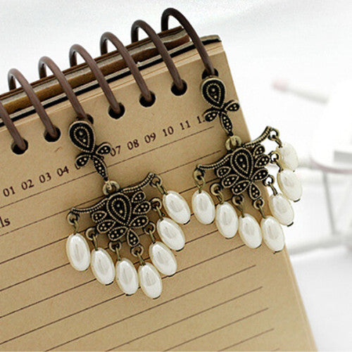 2016 Retro Fashion hollow tassel earrings long big hanging luxury black earrings with stone for women